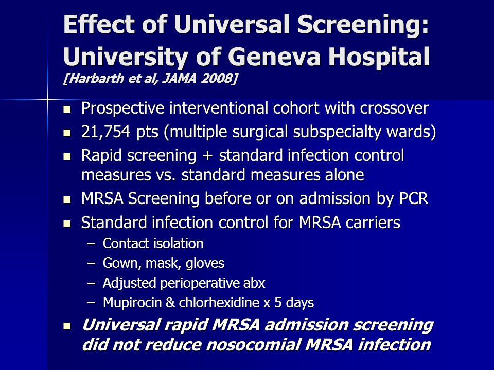 Effect of Universal Screening: University of Geneva Hospital [Harbarth et al, JAMA 2008]